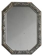Miroir octogonal en bois argenté décor feuillages Art déco 1930