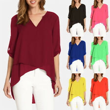 Summer Women Casual 3/4 Sleeve Chiffon Shirt V Neck Tops Solid Loose Blouse