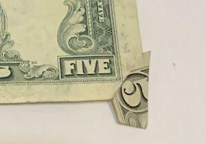 1981 A Gutter Fold $5  Error Blank Corner Overlap Extra Paper Unbelievable