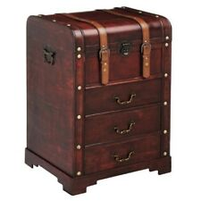 Premier Housewares Cabinet With Drawers -burgundy - Plywood Leather Effect