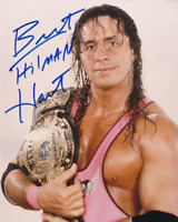 Bret Hart Autograph Heavyweight Champion Pre Print Wrestling Photo 8x6 Inch