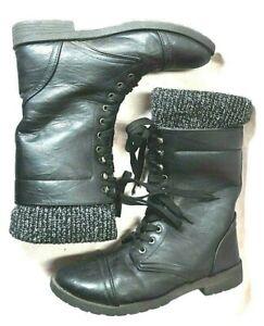 Blue Suede Shoes: Combat Boots Size 7 Lace Up  Black  Faux Leather Knit Top