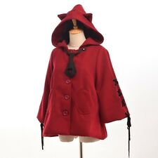 Girls Harajuku Red Lolita Hooded Coat w Necktie Cute Cat Ears Hat Lace-up Sleeve
