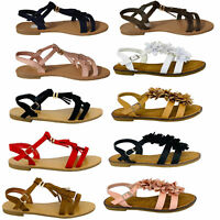 Ladies Suede Look Sandals Womens Open Toe Buckle Fringe Flowers Summer Fashion