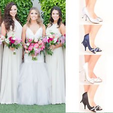 Satin Low Mid Kitten Heel Bridal Shoes Wedding Bridesmaid Size Ladies Women's