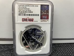 2016 Fiji $1 Marvel Black Panther 1oz Silver Proof Coin NGC PF69 FDI