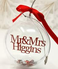 Mr and Mrs Personalised Christmas Bauble Xmas Tree Decorations Wedding gift