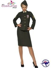Womens Wartime Officer Army Military Uniform Fancy Dress Costume Outfit