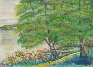 JOHN R. WATTS - Folk Art Watercolor & Gouache Landscape Painting - U.S. - C.1889
