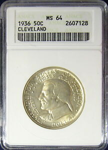 TMM# 1936 Certified Cleveland Commemorative Half Dollar ANACS MS64