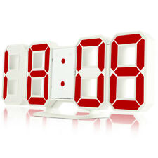 3 Brightness Digital 3D LED Wall Clock Alarm Clock Snooze 12/24 Hour Display USB