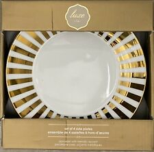 CIROA LUXE METALLIC GOLD STRIPE SIDE PLATES SET OF 4