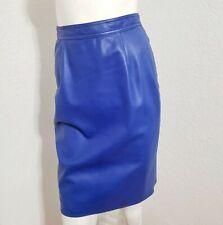 Vintage Emanuel Ungaro Leather Pencil Skirt Blue Sz 8