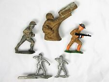 Original WWI / WWII Lead Toy Soldier Collection – 4 Metal & 1 Rare Hollow Cast