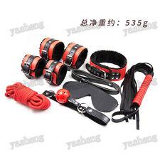 7PCS Black/ Red Heavy Pu Leather Faux Fur Bondage Set Kit Cuffs Whip Collar Gag