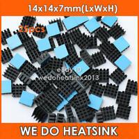25pcs WE DO HEATSINK 14x14x7mm Black Aluminum Heat Sinks Cooler With Stick Tape
