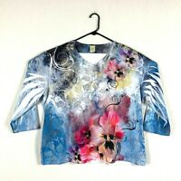 Jess and Jane Sky High White Dragonfly Floral Flowers Shirt Size New with Tags