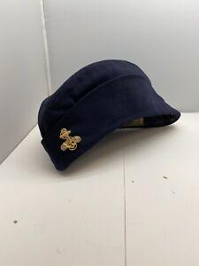 WW2 Women's Navy Officers Overseas Flat Hat W/Wave Badge