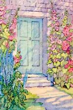 Vintage Repro Postcard: Entryway with Hollyhocks - Home Sweet Home