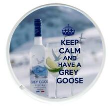 KEEP CALM AND HAVE A GREY GOOSE round coaster.  Grey Goose and glasses