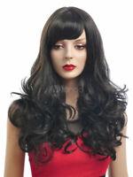 Wie Echthaar Mode Sexy Natürliche Damen Lang Gelockt Schwarz Perücken Volle wig