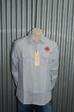 191 Unlimited Blue Grey Military Button-Up Woven NWT XL