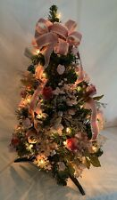 """Shabby chic Tabletop Prelit Christmas Tree 25"""" Clear Lights Pink Ribbon Roses"""