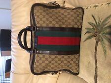 Vintage Gucci Monogram Canvas Leather trim Briefcase shoulder Bag