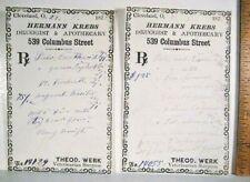 1875 Druggist Receipt Veterinarian Veterinary Surgeon Cleveland OH-Apothecary