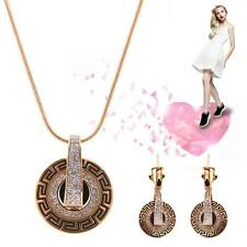 Women Retro Vintage Crystal Pendant Necklace Earrings Jewelry Set Hot Fashion TL