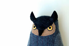 Artist Doll Mimi Kirchner Soft Grey Owl Softie Toy plush pillow wool