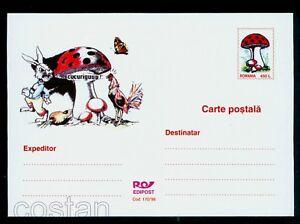1998 Mushrooms,Butterfly,Rabbit,Carrot,Rooster,Pilze,Schmetterlinge,Romania,card