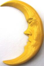 Yellow Crescent Moon Folk Art Wall Sculpture, Handmade Original by Claybraven