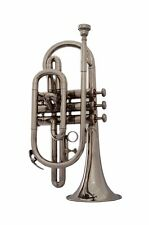 SUPEER DEAL!!! New Silver-Nickel Bb Cornet Free Hard Case+M/P+5 DAYS DELIVERY
