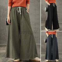 ZANZEA UK Women Drawstring Tie Cotton Chino Pants Casual Loose Wide Leg Trousers