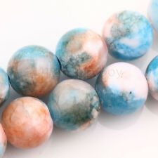 Blue Orange White Mottle Glass Marble Effect Round Glass Beads 10mm-30 Beads