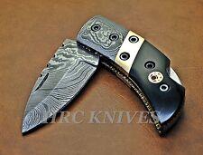 "DG6 ~ 5.5"" CUSTOM HRC DAMASCUS FOLDING POCKET KNIFE W/ HORN & MOSAIC PIN - USA"