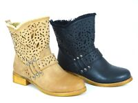 WOMENS LADIES MID HEEL SUMMER CUT OUT CHELSEA LOW ANKLE BOOTS SHOES SIZE 3-8