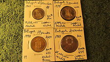 World Coins  4 Coin Set from Portugal  2 1/2, 5, 10, and 20 Escudos