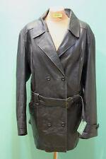 Schöner alter Leder Mantel Gr 44 Damen schwarz vintage echt 2-Reiher