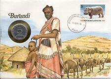 superbe enveloppe BURUNDI pièce monnaie 5 Francs 1980 UNC NEUF NEW timbre