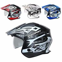 Wulfsport Vista Trials Helmet Open Face With Drop Down Visor Road Legal