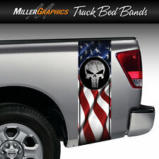 Punisher Skull Cracked Rock American Flag Truck Bed Band Stripe Decal Graphic