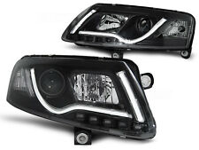 black Lightbar Xenon Headlights w/ daytime running lights FOR Audi A6 C6 04-08