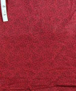 2+yds Dark Red Floral Print Cotton Quilt Fabric,Daisy Kingdom from Springs Ind