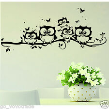 Removable Kids Vinyl Art Cartoon Owl Butterfly Wall Sticker Decor Home Decal
