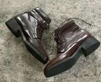Amalfi Italy Brown Leather Granny Boots Lace Up Women's Size 7