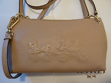 NWT COACH Embossed Horse and Carriage Charley crossbody Bag F33521-Nude