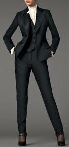 Black Women Peak Lapel Ladies Business Office Tuxedos 3 Piece Work Wear Suits