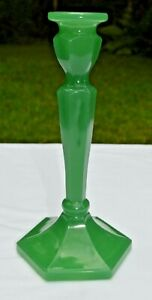 Mosser Glass 7 1/2″ Jadeite Candlestick